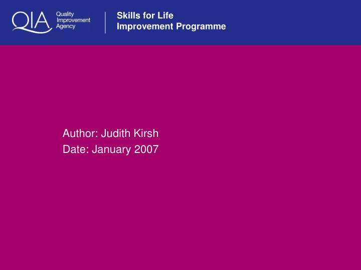 Author judith kirsh date january 2007