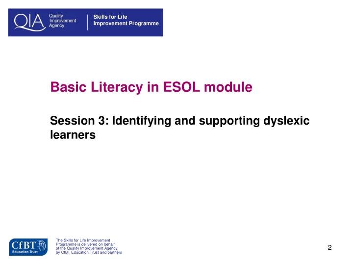 Basic literacy in esol module