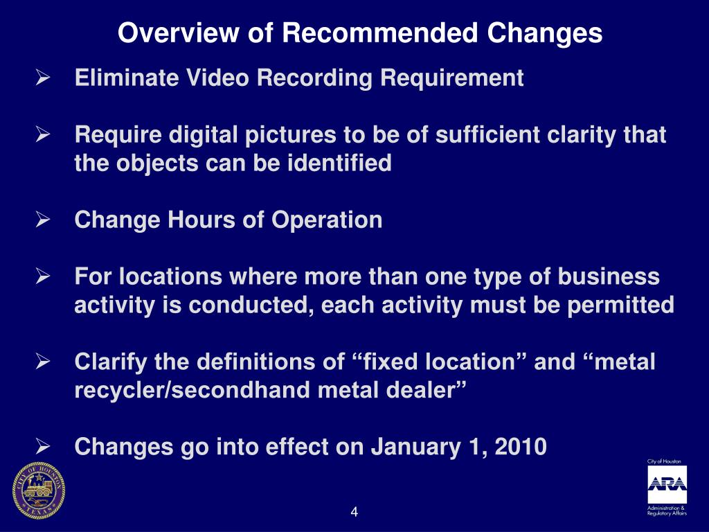 Overview of Recommended Changes