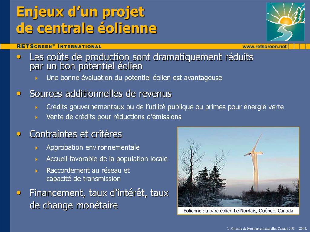 Enjeux d'un projet                         de centrale éolienne