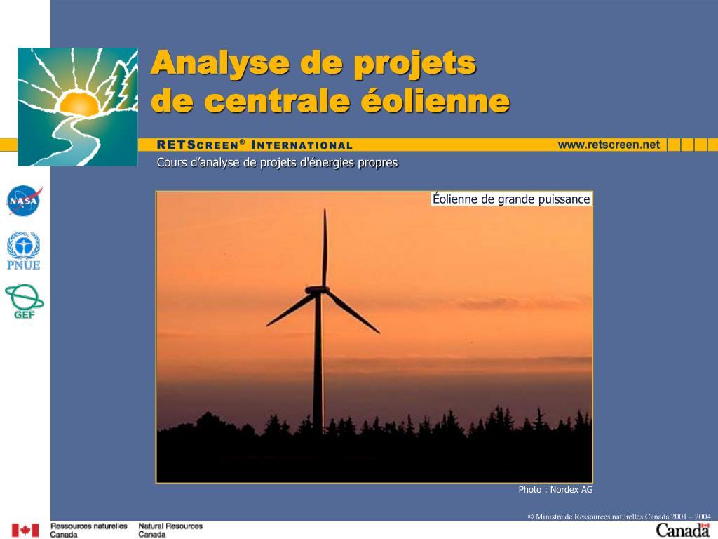Analyse de projets                    de centrale éolienne