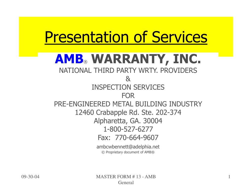 presentation of services