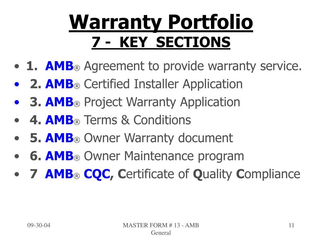 Warranty Portfolio