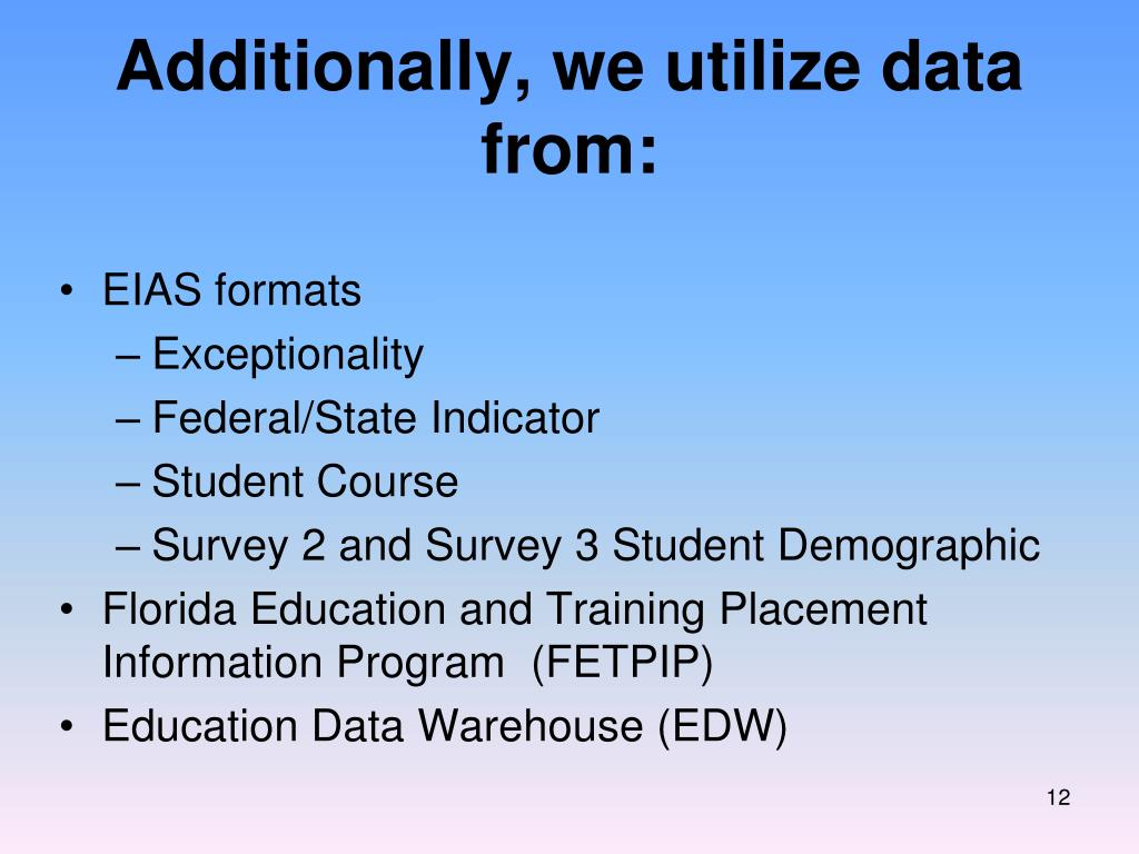 Additionally, we utilize data from: