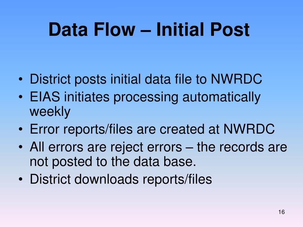 Data Flow – Initial Post