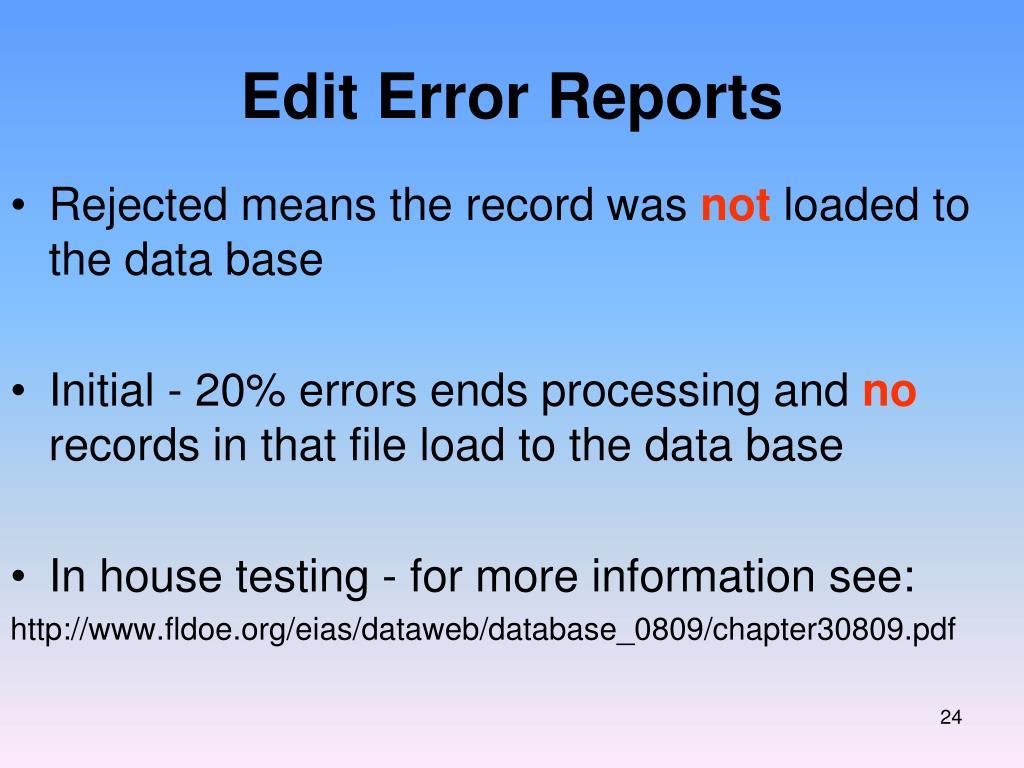 Edit Error Reports