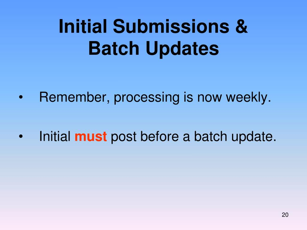 Initial Submissions &