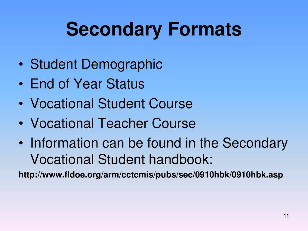 Secondary Formats