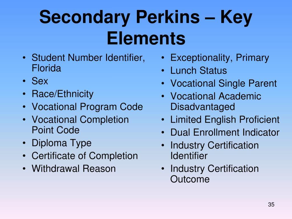 Secondary Perkins – Key Elements