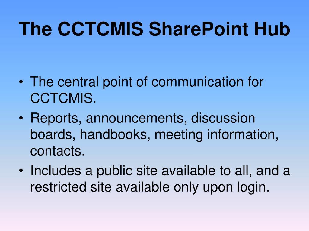 The CCTCMIS SharePoint Hub