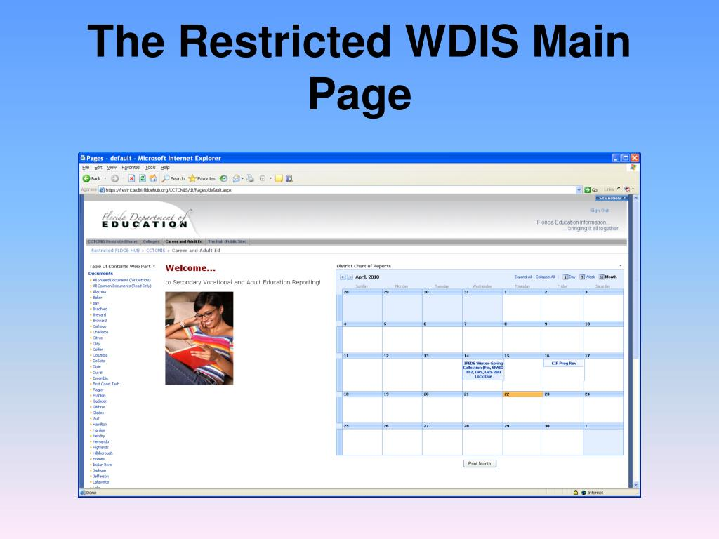 The Restricted WDIS Main Page