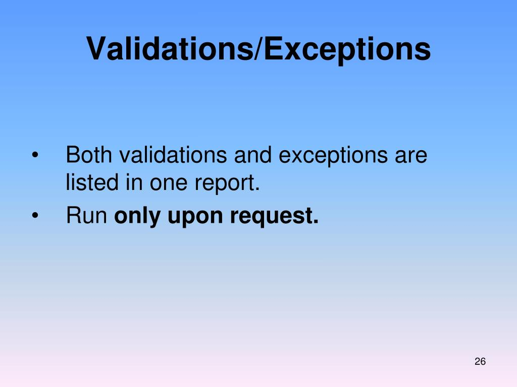 Validations/Exceptions