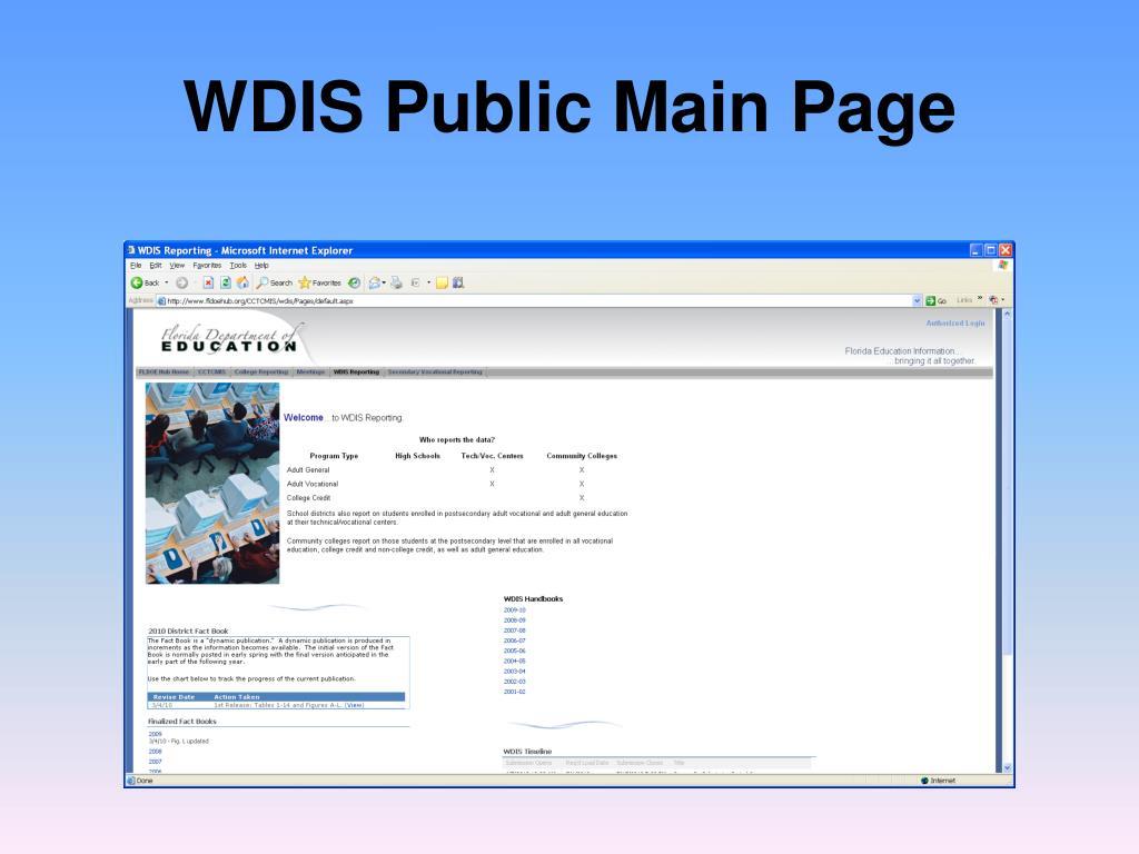 WDIS Public Main Page