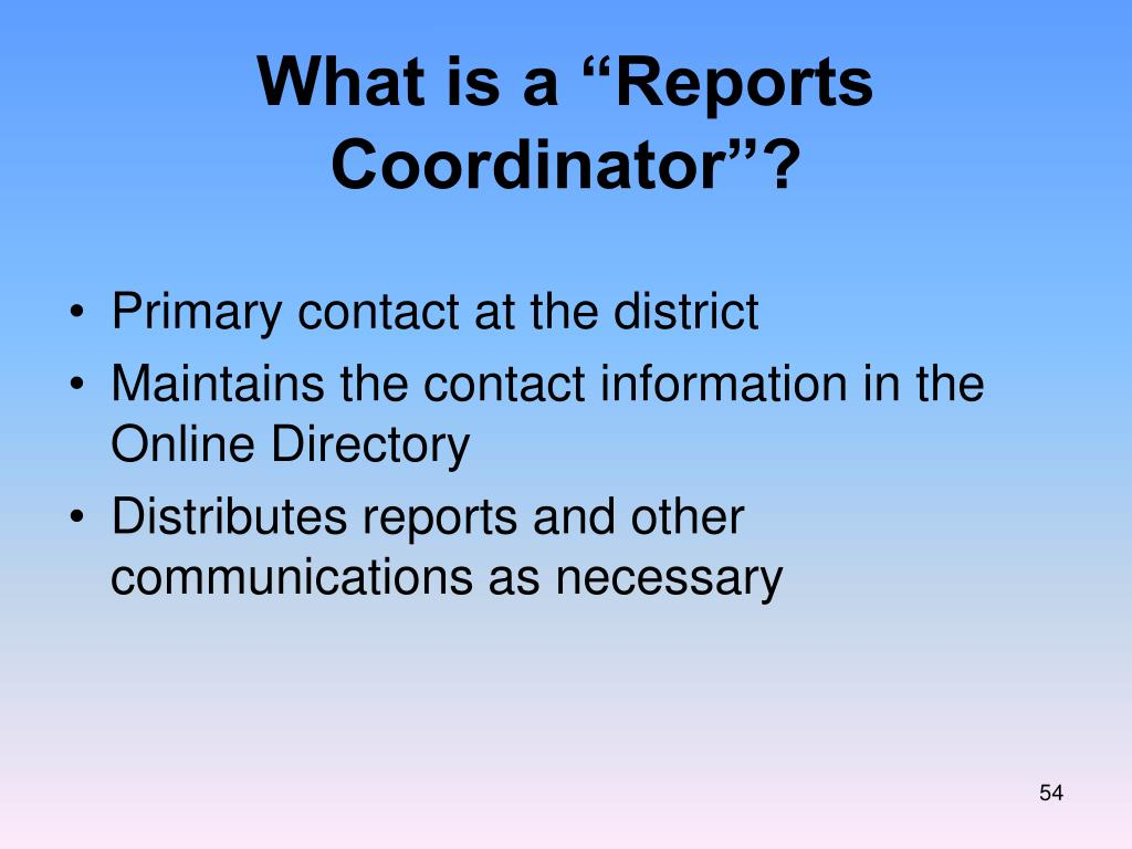 """What is a """"Reports Coordinator""""?"""