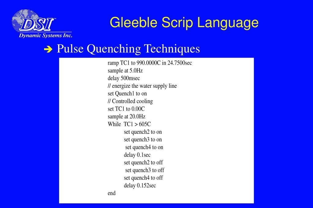 Gleeble Scrip Language