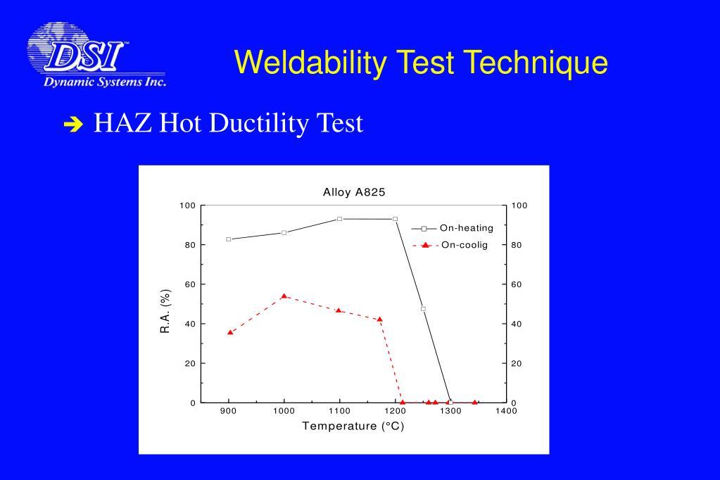 Weldability Test Technique