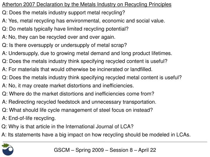 Atherton 2007 Declaration by the Metals Industry on Recycling Principles