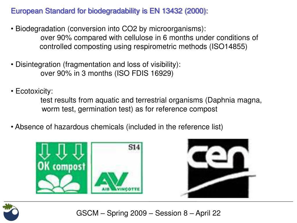 European Standard for biodegradability is EN 13432 (2000):