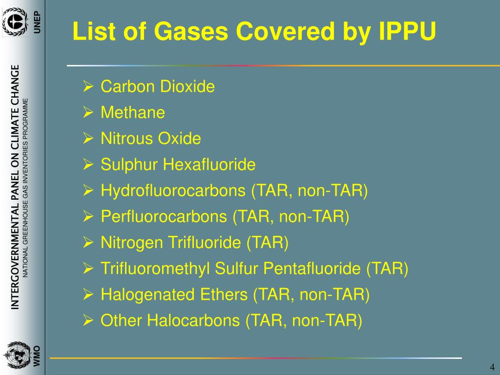 List of Gases Covered by IPPU