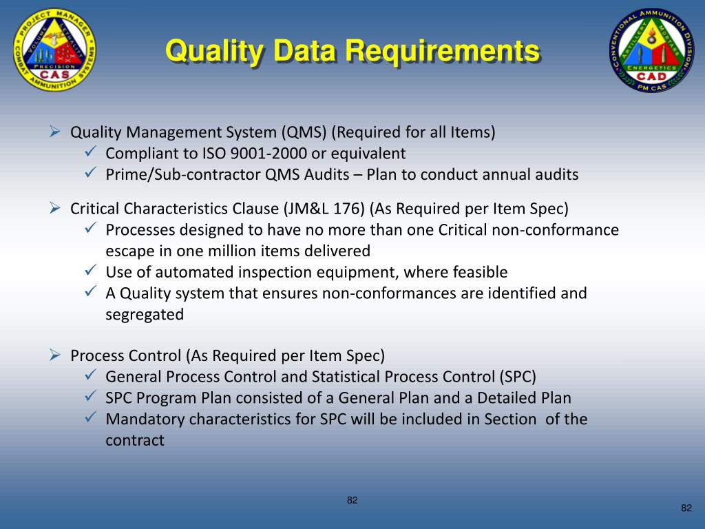 Quality Data Requirements