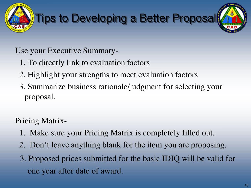 Tips to Developing a Better Proposal