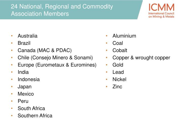 24 national regional and commodity association members