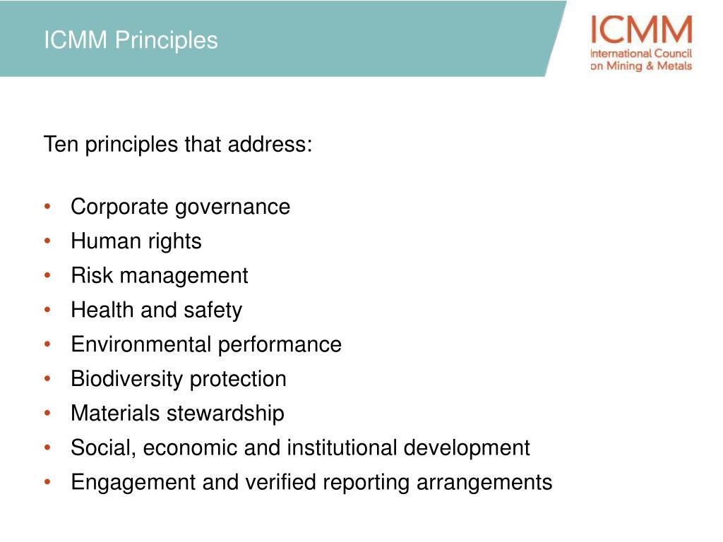 ICMM Principles