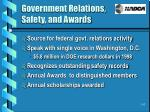 government relations safety and awards
