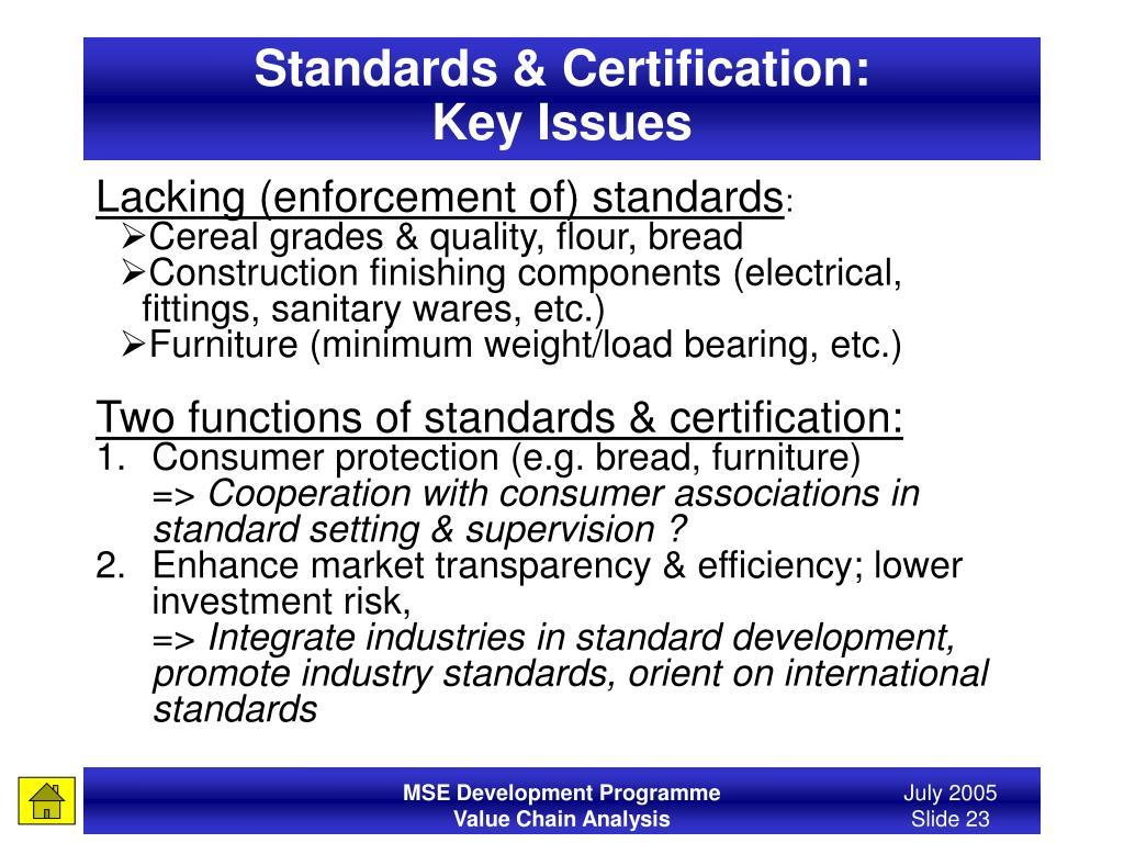 Standards & Certification: