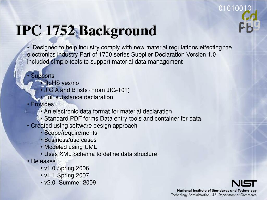 IPC 1752 Background