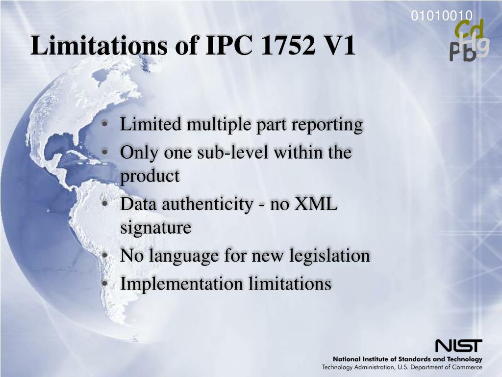 Limitations of IPC 1752 V1