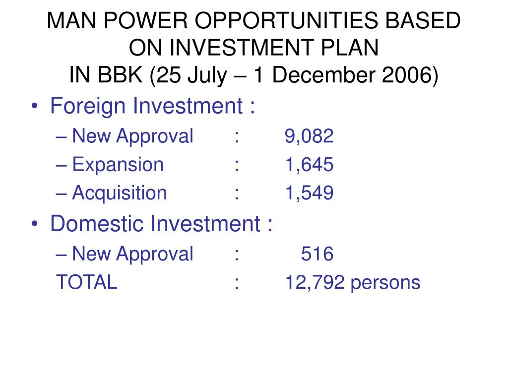 MAN POWER OPPORTUNITIES BASED ON INVESTMENT PLAN