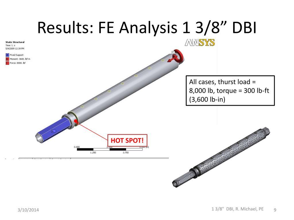 "Results: FE Analysis 1 3/8"" DBI"