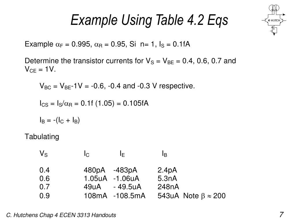 Example Using Table 4.2 Eqs