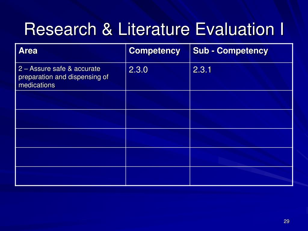 Research & Literature Evaluation I