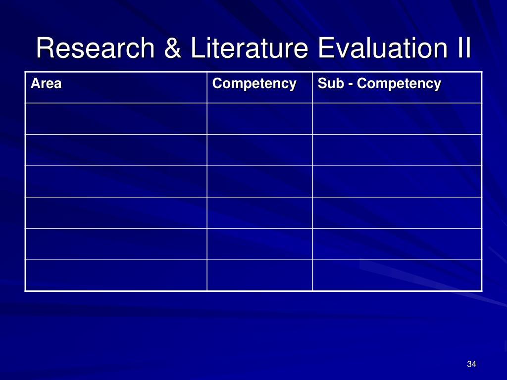 Research & Literature Evaluation II