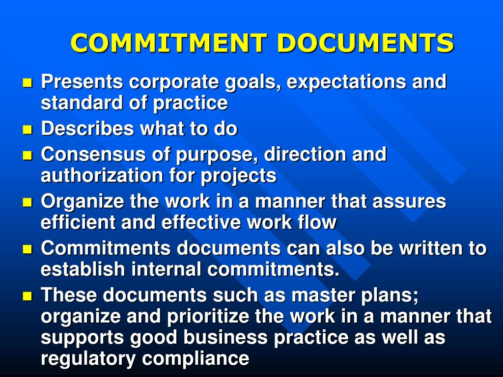 COMMITMENT DOCUMENTS