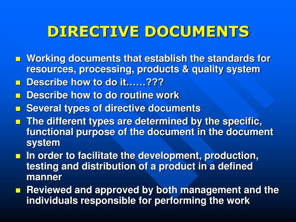 DIRECTIVE DOCUMENTS