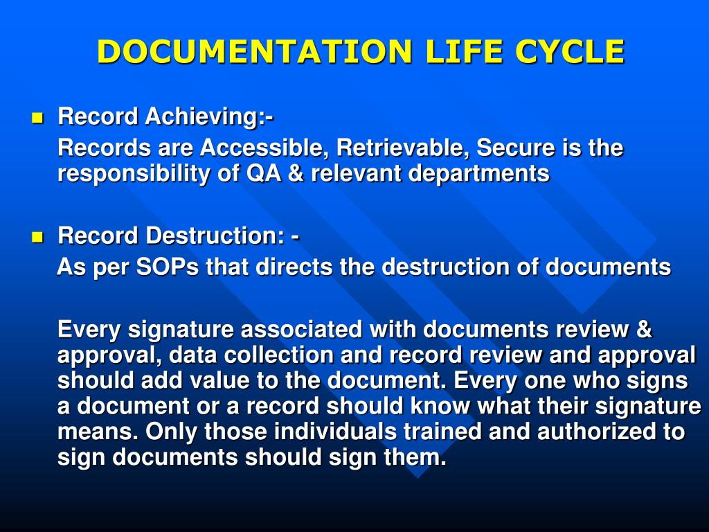 DOCUMENTATION LIFE CYCLE