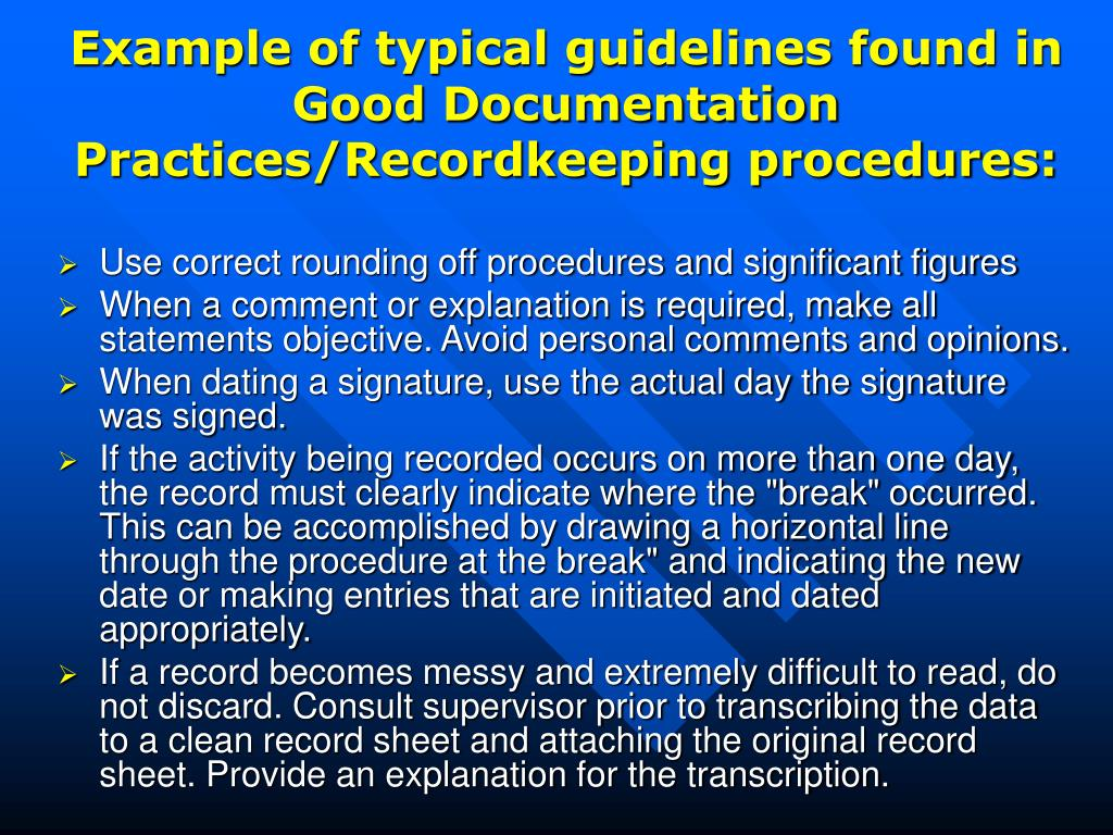 Example of typical guidelines found in Good Documentation