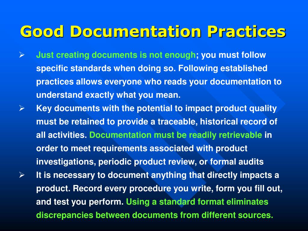 Good Documentation Practices