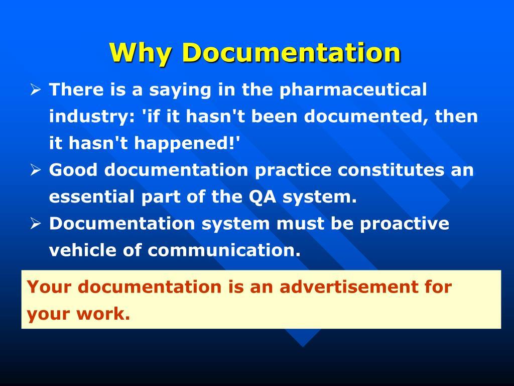 Why Documentation