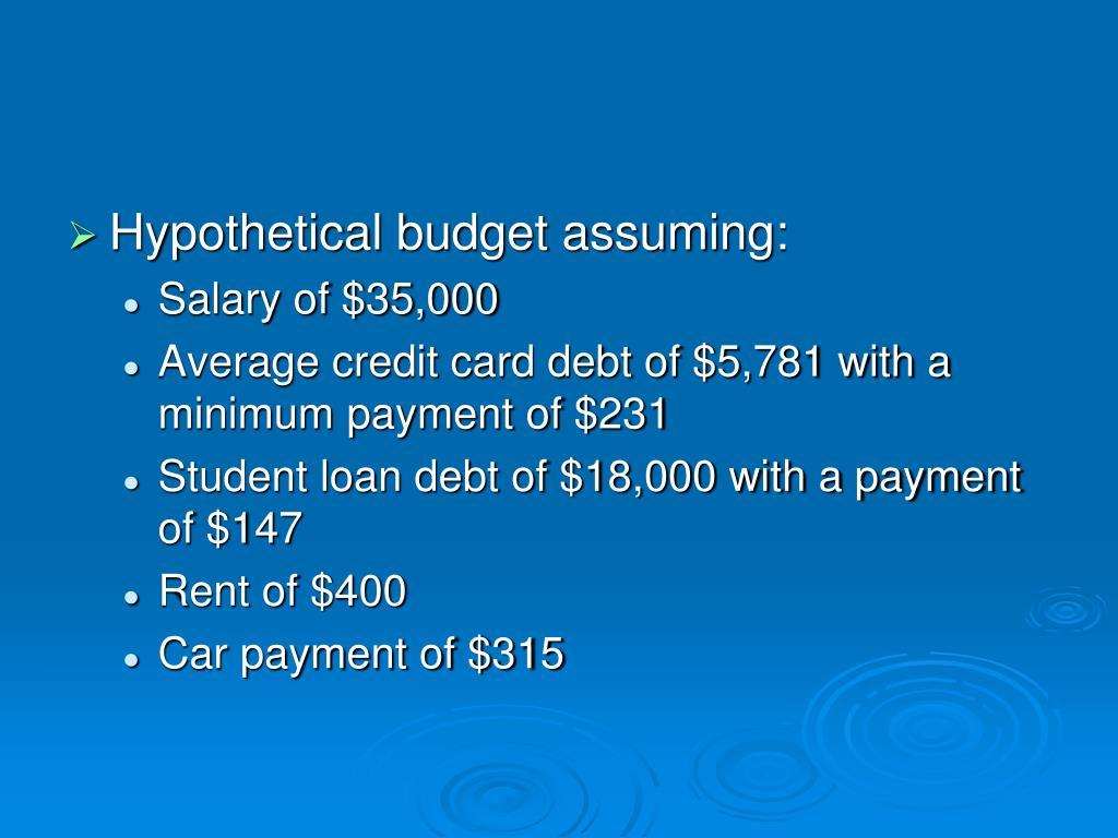 Hypothetical budget assuming: