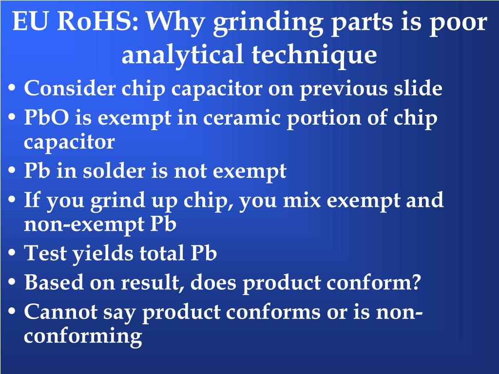 EU RoHS: Why grinding parts is poor analytical technique
