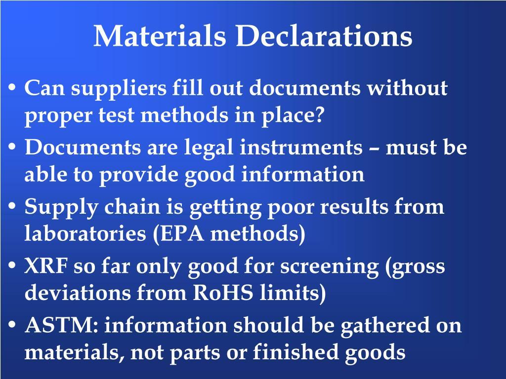 Materials Declarations