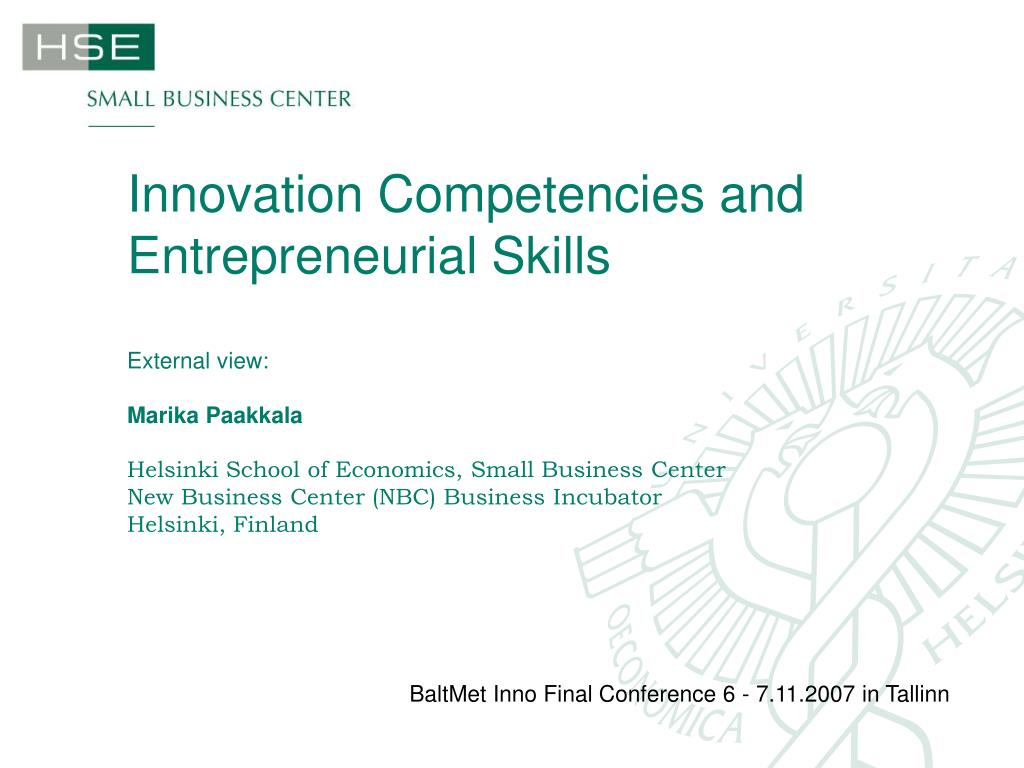 Innovation Competencies and Entrepreneurial Skills