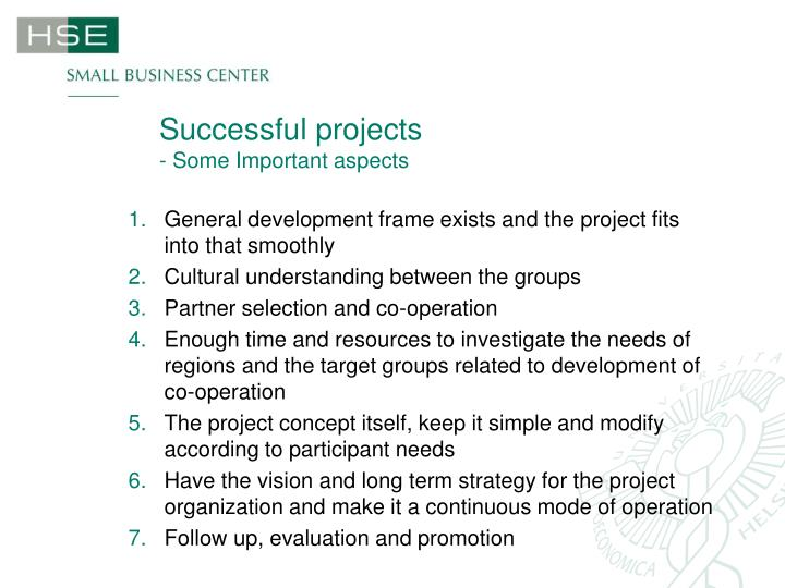 Successful projects some important aspects