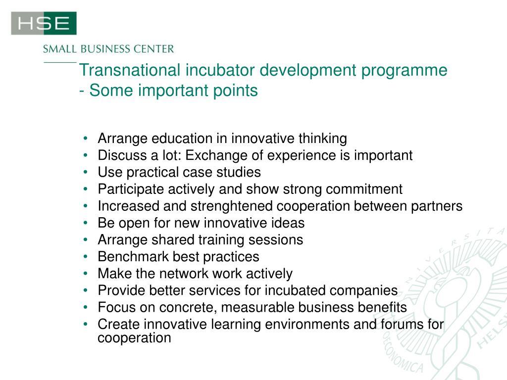 Transnational incubator development programme