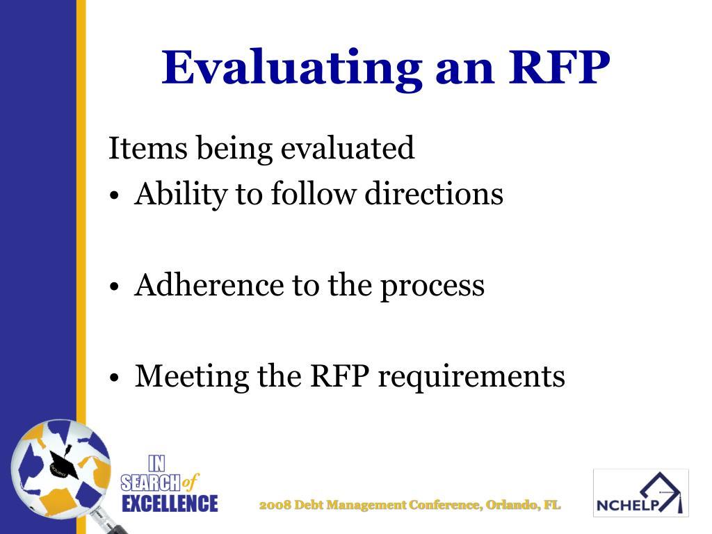 Evaluating an RFP