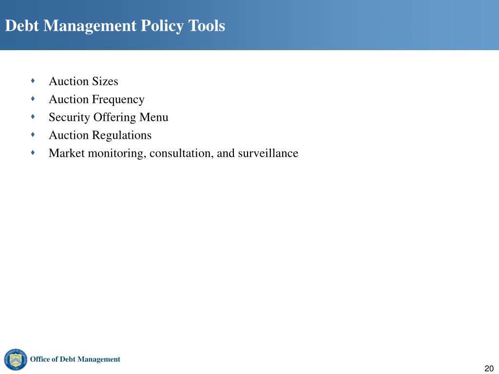 Debt Management Policy Tools